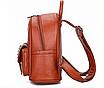 Рюкзак женский кожзам с брошкой Бордовый, фото 3