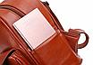 Рюкзак женский кожзам с брошкой Бордовый, фото 7