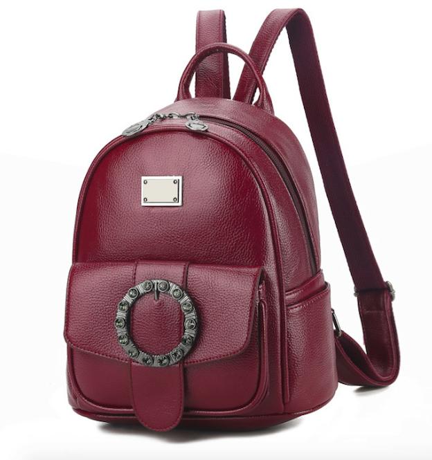 Рюкзак женский кожзам с брошкой Бордовый