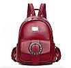 Рюкзак женский кожзам с брошкой Бордовый, фото 2