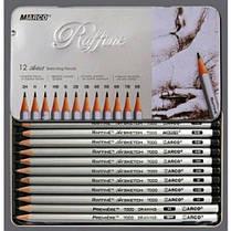 Карандаши графит. MARCO 7000-12TN различной соч. 2H-3B (12шт) Rafine в МЕТ. Пенал (1/12)