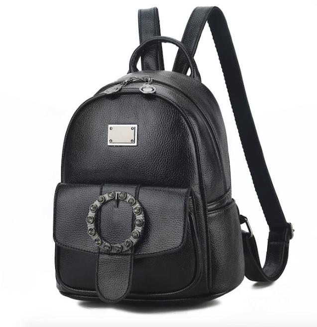 Рюкзак женский кожзам с брошкой Черный