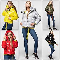 Уникальная модная женская зимняя куртка - рюкзак с поясом, лаковая оверсайз, фото 1