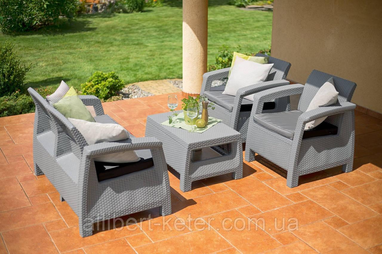Набор садовой мебели Corfu Set Light Grey ( светло-серый ) из искусственного ротанга