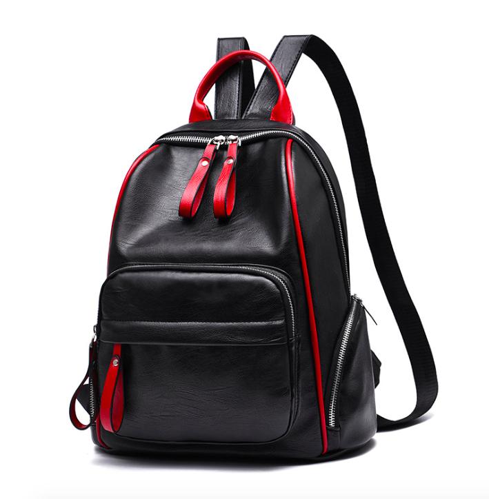 Рюкзак женский Backpack Trend Черный с красной строчкой