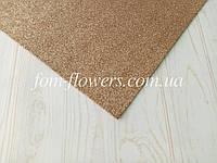 Глиттерный фоамиран, 60х40 см, коричневый., фото 1