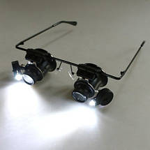 Ювелирные стеклянные очки MAGNIFIER 9892A-II с Led подсветкой 20x увеличением, фото 3