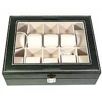 Шкатулка для хранения часов на 10 шт черная кожа 26х20,5х8 см (30858)