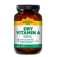 Dry Vitamin A (Витамин А) 10 000 МО 100 таблеток ТМ Кантри Лайф / Country Life