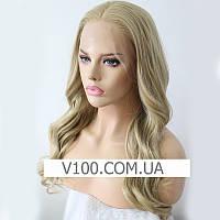 Натуральный блонд парик с шелковой вставкой (имитация кожи головы), фото 1