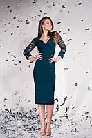 Модное красивое женское платье осень 2019 цвет:  изумрудный, размер: S, M, L, XL