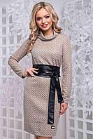 Трикотажное облегающее женское платье осень 2019цвет: кофейный, размер: M, L, XL, XXL