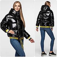 Уникальная модная женская зимняя куртка - рюкзак с поясом, лаковая оверсайз 42, Черный