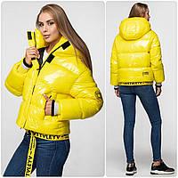 Уникальная модная женская зимняя куртка - рюкзак с поясом, лаковая оверсайз 42, Желтый