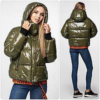 Уникальная модная женская зимняя куртка - рюкзак с поясом, лаковая оверсайз 46, Хаки