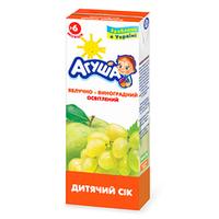 """Сок детский с мякотью """"Яблоко-виноград"""" Агуша, 200мл от 3 мес."""