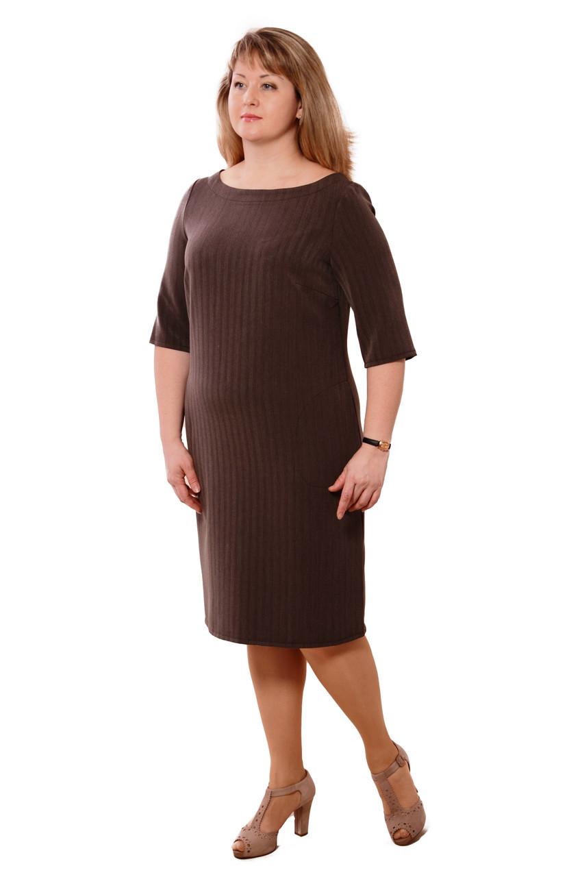 Платье женское ,офисное, по колено ,Пл 167-2, серое.