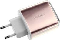 Сетевое зарядное устройство Usams US-CC004 Travel charger 2USB 2.4A Rose Gold, фото 1
