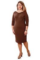 Платье женское ,нарядное, по колено ,Пл 168, мокко, трикотаж.