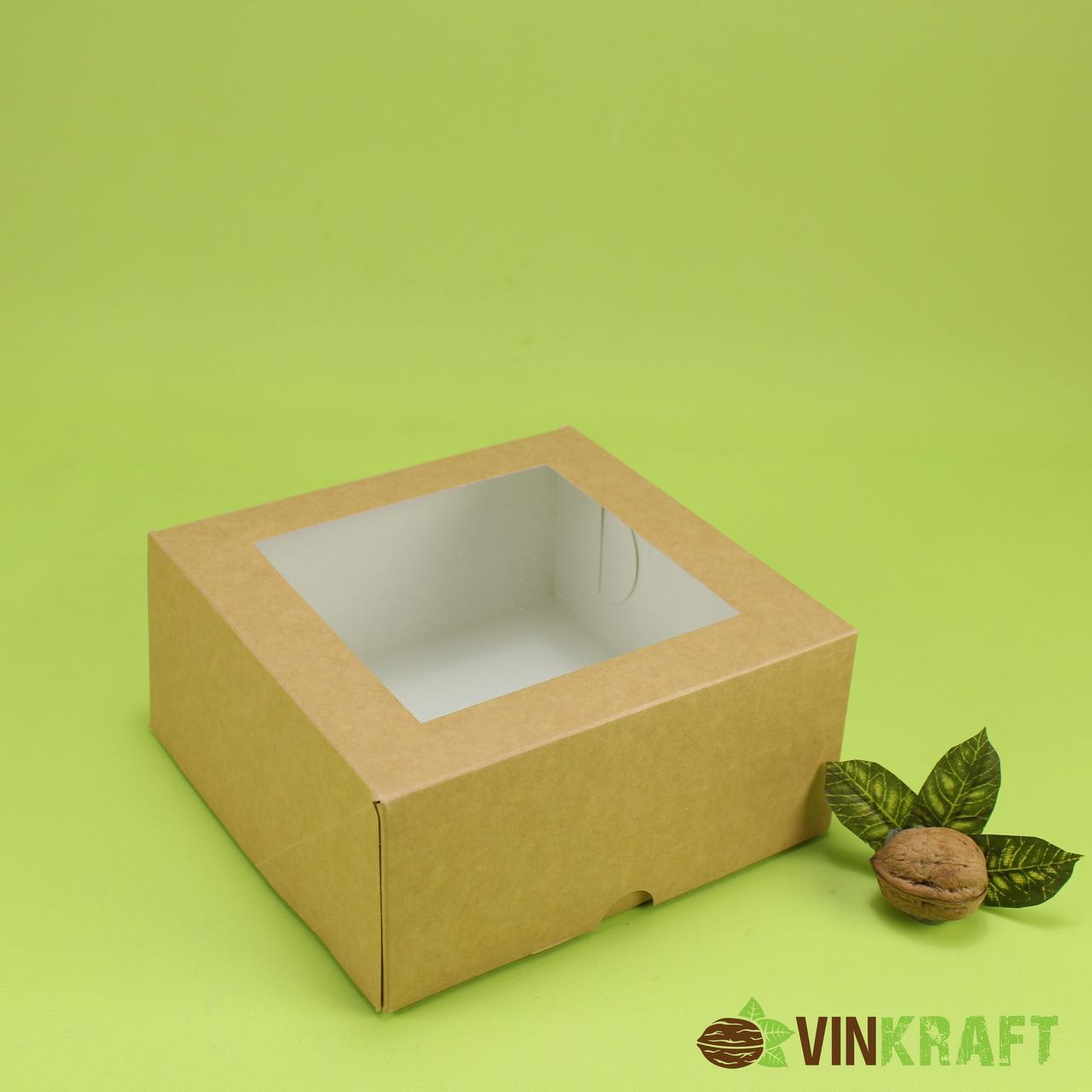 Коробка 165*165*85 для десертів з вікном , крафт