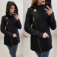 Кашемировое женское пальто на молнии с капюшоном. Арт-2699/16
