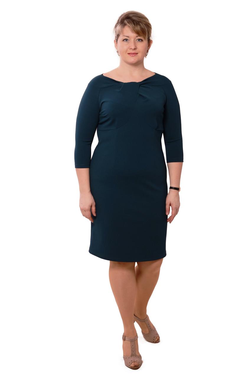 Платье женское ,нарядное, по колено ,Пл 168-1, морская волна, трикотаж.