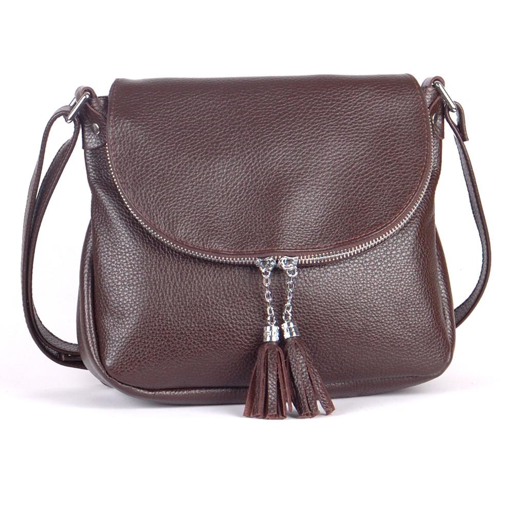Женская сумка кожаная 19 черный шоколад 01190106