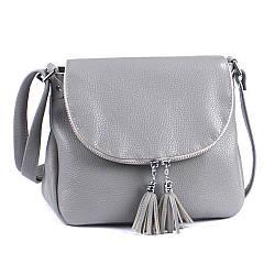 Женская кожаная сумочка-кроссбоди 19 серый флотар 01190114