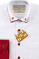 """Белая рубашка с бордовым манжетами для мальчика """"Княжич"""""""