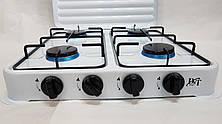 Плита газовая настольная D&T DT-6004 на 4 конфорки эмалированная с крышкой, фото 2
