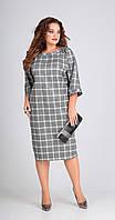 Платье Andrea Style-00203 белорусский трикотаж, крупная клетка, 56