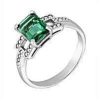 Серебряное кольцо Викентия с зеленым кварцем и фианитами 18 000096236