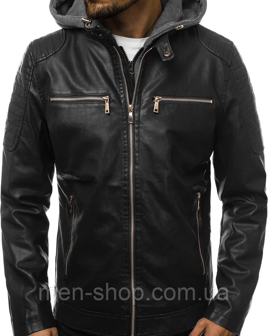 Кожаная мужская куртка с капюшоном