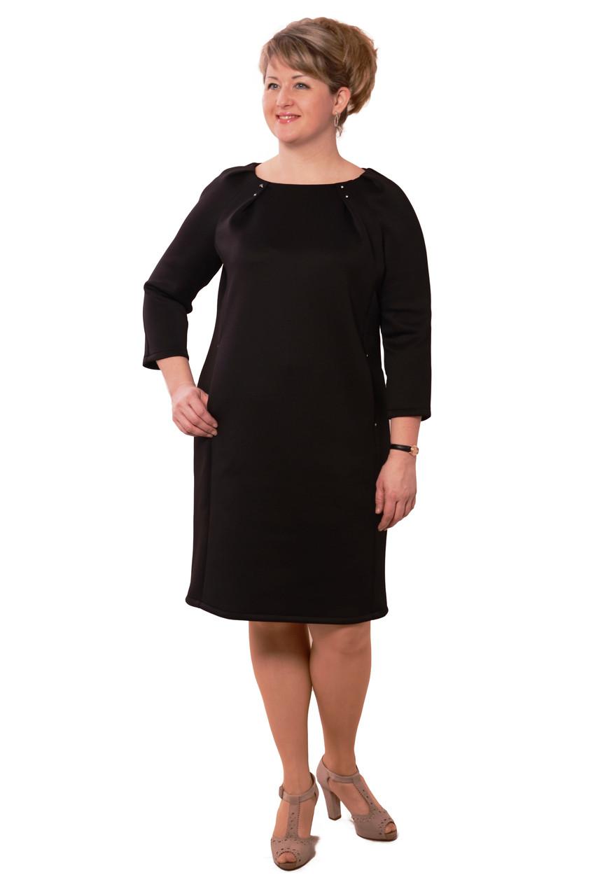 Платья больших размеров интернет магазин по колено ,платье с утяжкой ,Пл 170,черное , трикотаж с утяжкой.