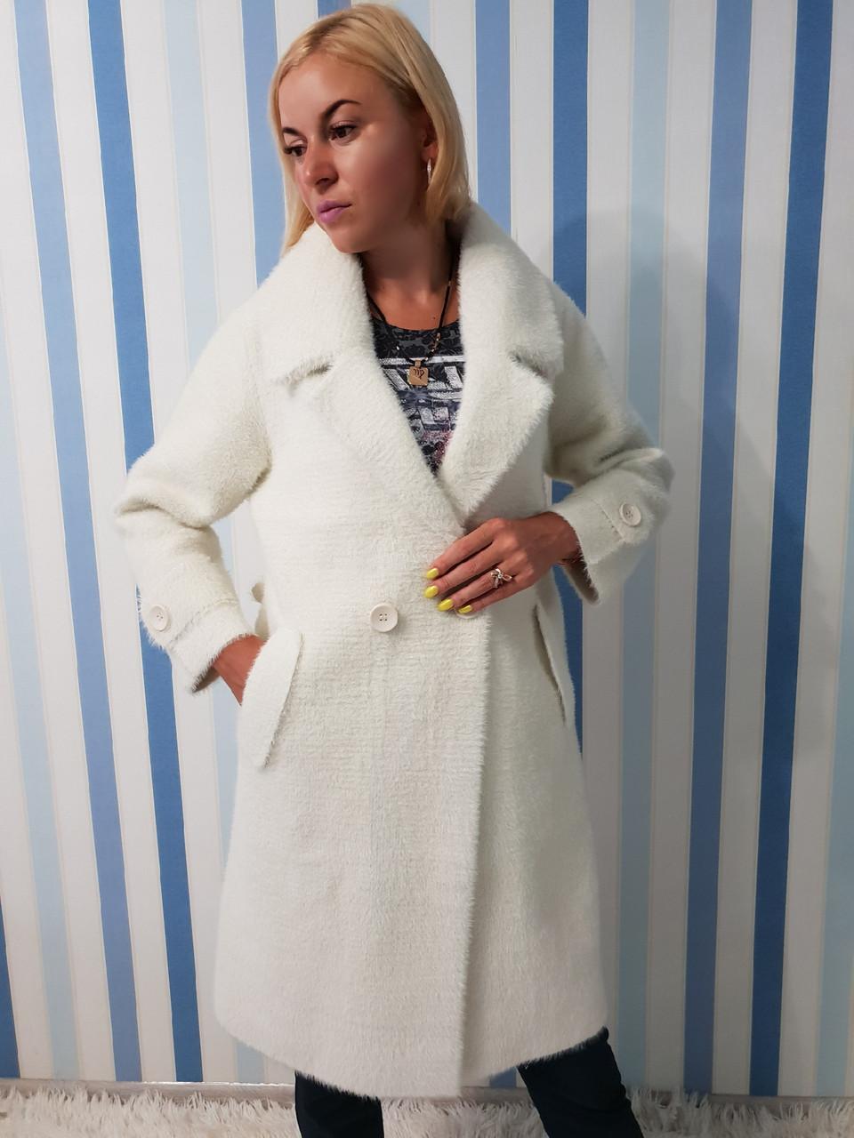 Женское осеннее пальто из шерсти альпака