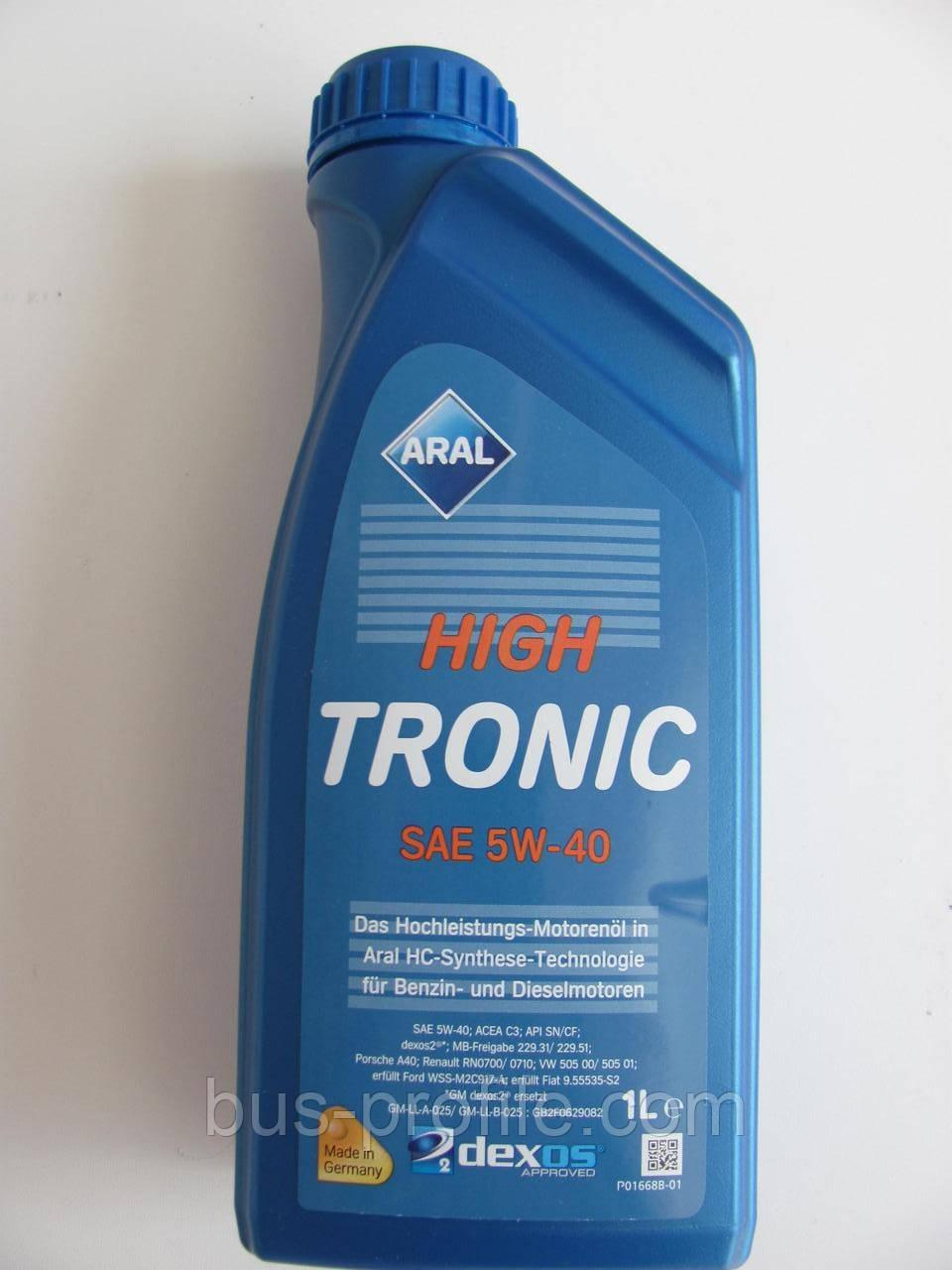 Масло 5W40 High Tronic (1L) (VW 502 00/505 00/505 01/MB 229.31/RN0700/GM dexos2) — ARAL — AR-1505B4