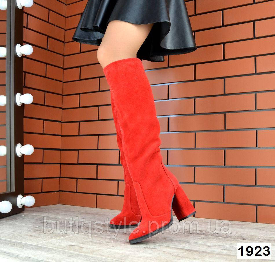 Женские красные сапоги на каблуке натуральный замш Деми
