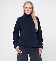 Женский теплый вязаный свитер большого размера под горло объемный, фото 1
