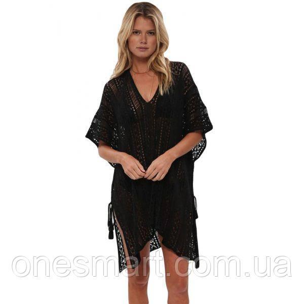 Black Crochet Knitted Tassel Tie Kimono Beachwear