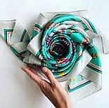 Платок шелковый (атлас)10077-9, павлопосадский платок (атлас) шелковый с подрубкой, фото 9