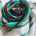 Платок шелковый (атлас)10077-9, павлопосадский платок (атлас) шелковый с подрубкой, фото 8