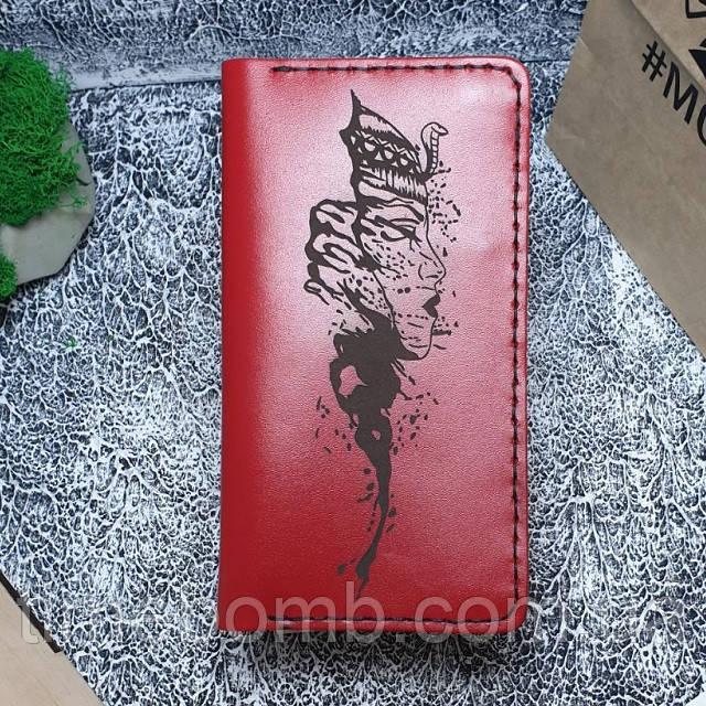 Женский кожаный кошелек Клеопатра красный