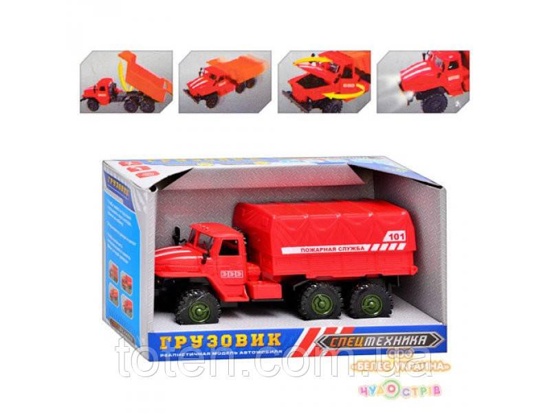 Вантажівка M 1358 U/R пожежна, звук, світло, відкриваються двері і капот, в кор-ке, 19-11-8 см