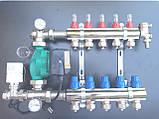 Коллектор STS для теплого пола на 3 выхода, латунь никел. +насос отдельно, фото 2