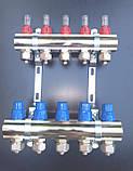Коллектор STS для теплого пола на 3 выхода, латунь никел. +насос отдельно, фото 3