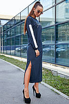 Осеннее платье свободного кроя длинный рукав цвет синий, фото 3