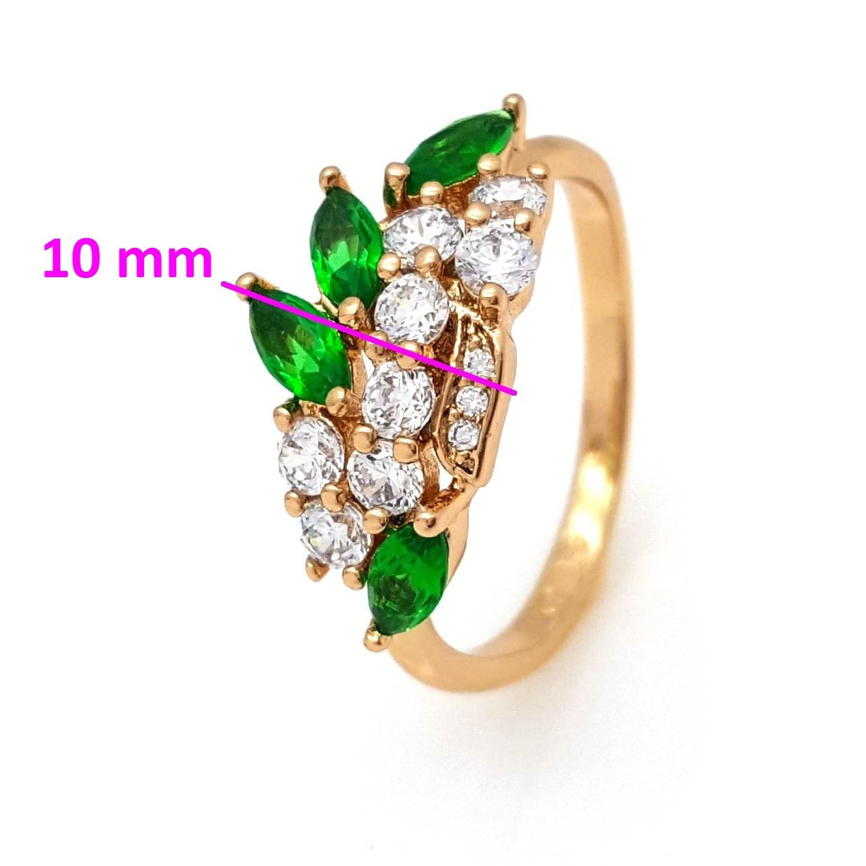 Кольцо Веточка с зеленым миндальным цирконием, p. 16,5, позолота Xuping 18К