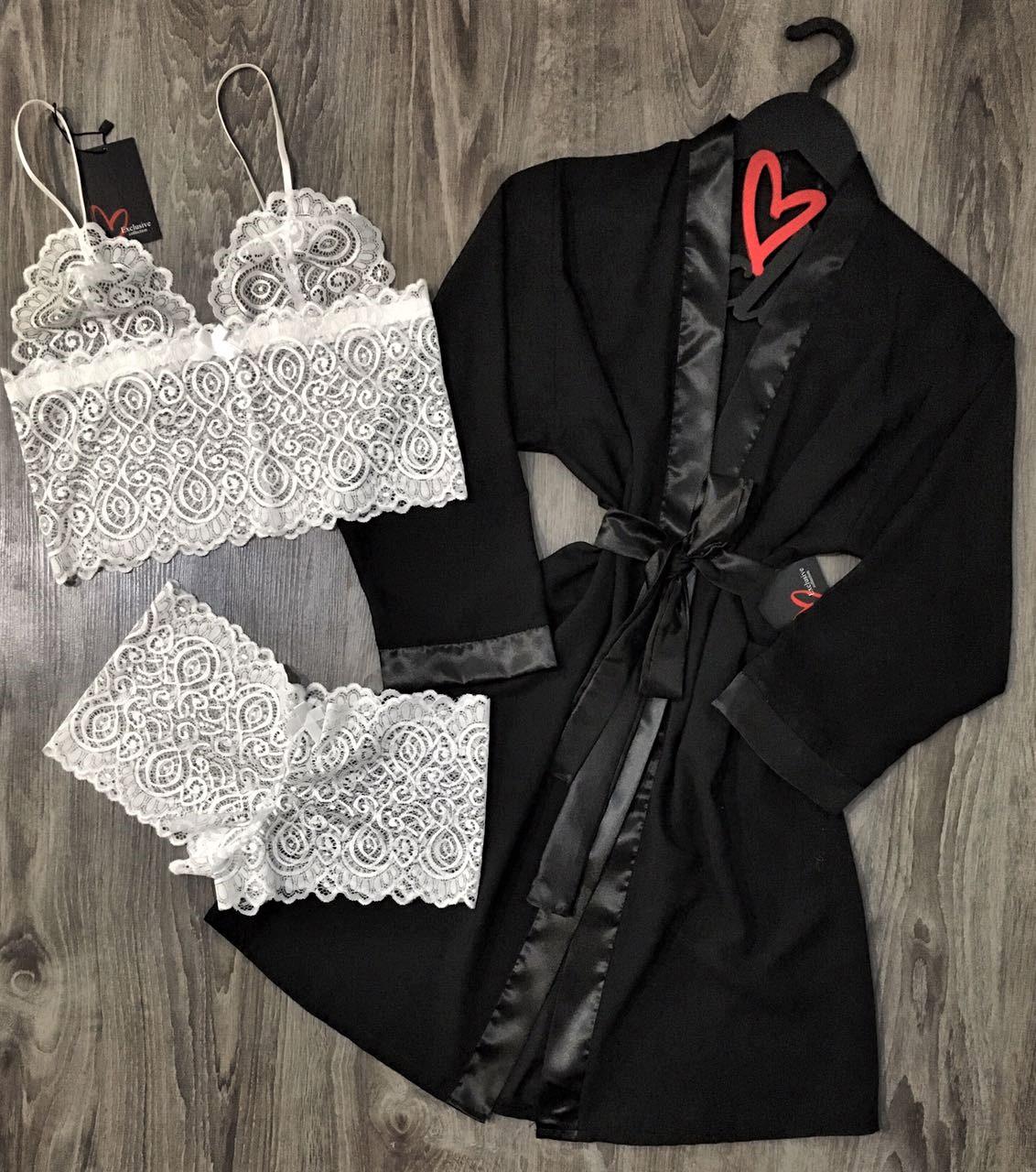 Черный шифоновый халат+комплект нижнего белья, домашняя одежда.