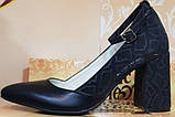 Туфли черные женские на высоком каблуке от производителя модель КЛ9011-8, фото 3