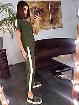 Костюм женский легкий летний повседневный с полоской из костюмки с футболкой штаны с манжетом, фото 2